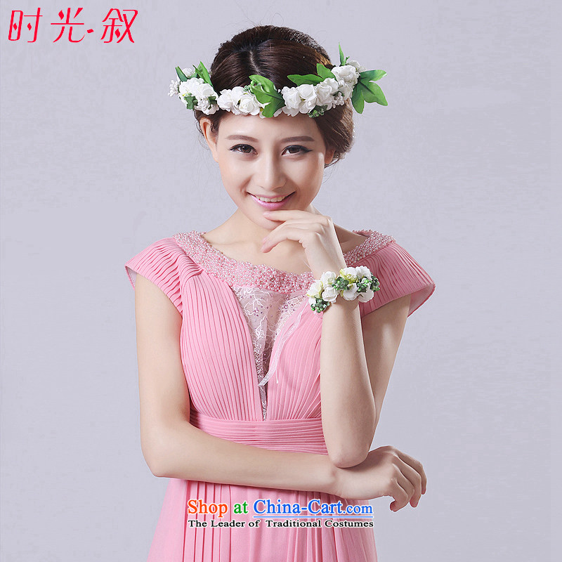 Syria Korean brides time Head Ornaments garlands bridesmaid wedding ornaments was adorned with flower girls white wrist garlands head-dress photo building shooting props White
