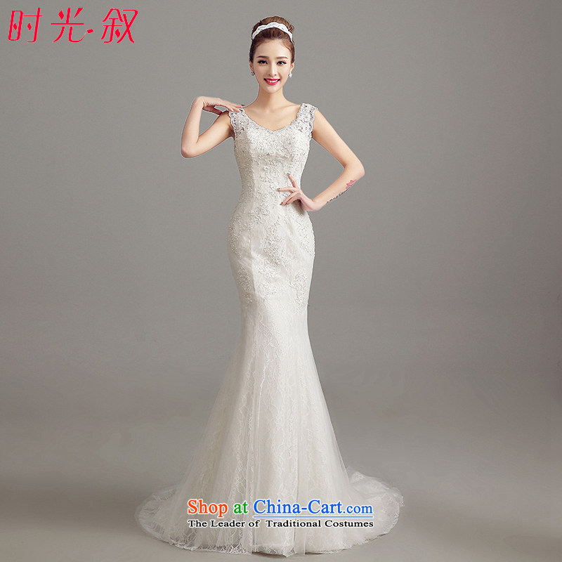The Syrian Arab Republic 2015 Autumn time new Korean shoulders large graphics thin back strap crowsfoot Sau San marriages Sau San tail wedding dresses White M