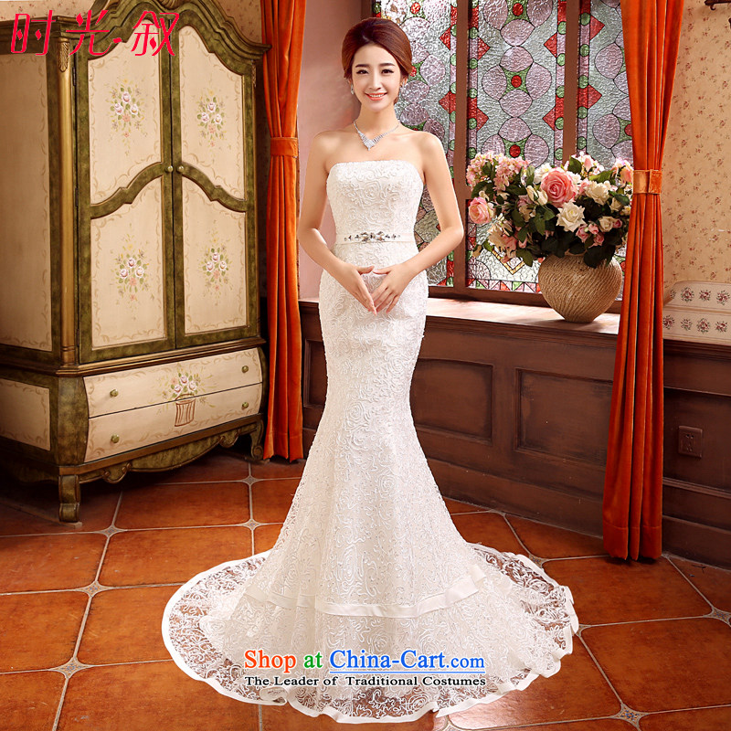 Time of autumn and winter 2015 Syria at the wedding dress crowsfoot small trailing wedding dresses new bride sexy anointed chest marriage Sau San wedding female video thin white聽L