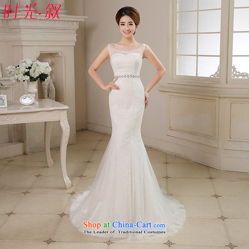 Time of autumn and winter 2015 Syria at the wedding dress shoulders crowsfoot small trailing wedding dresses new bride sexy anointed chest marriage Sau San wedding female video thin White XL