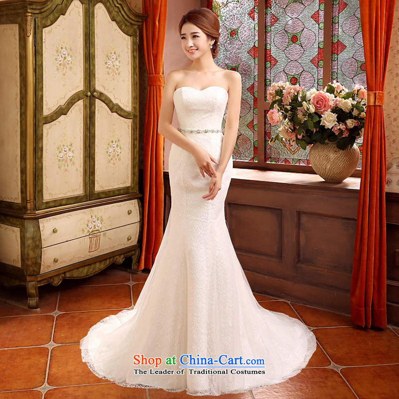 Time of autumn and winter 2015 Syria at the wedding dress wiping the chest crowsfoot small trailing wedding dresses new bride sexy marriage Sau San wedding female video thin white L, Syria has been pressed time shopping on the Internet