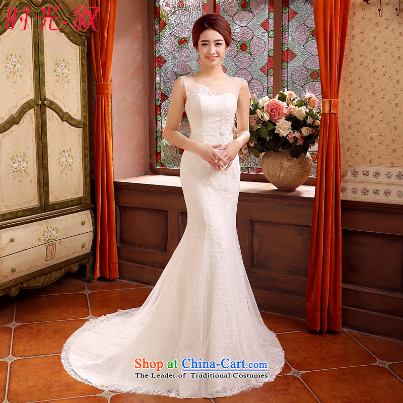 Time of autumn and winter 2015 Syria at the wedding dress a field shoulder crowsfoot small trailing wedding dresses new bride sexy marriage Sau San wedding female video thin White?XL