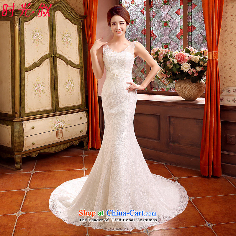 Time of autumn and winter 2015 Syria at the wedding dress a field shoulder crowsfoot small trailing wedding dresses new bride sexy marriage Sau San video thin flowers wedding female white聽L