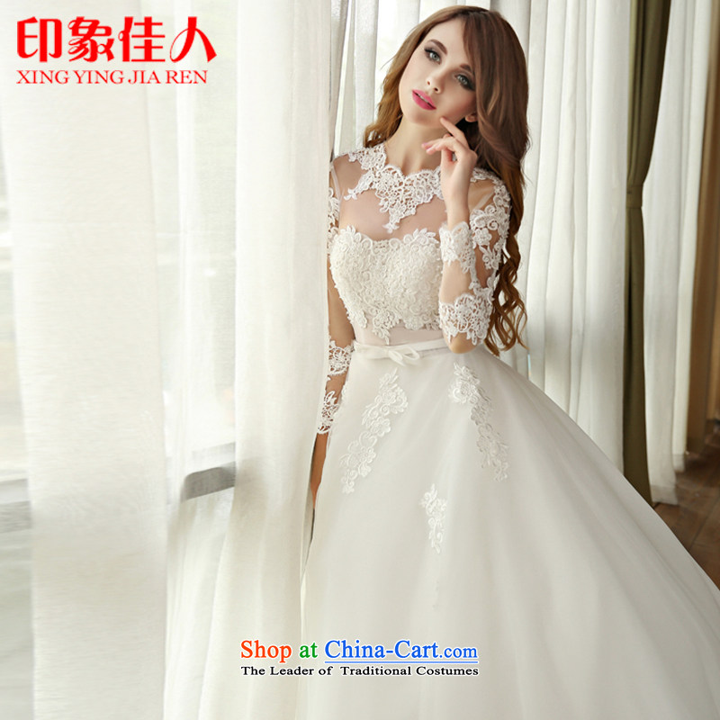 Starring impression high-end wedding dresses to align the new 2015 wedding long-sleeved transparent skirt out princess lace yarn sweet bon bon skirt long-sleeved wedding high-end custom?M