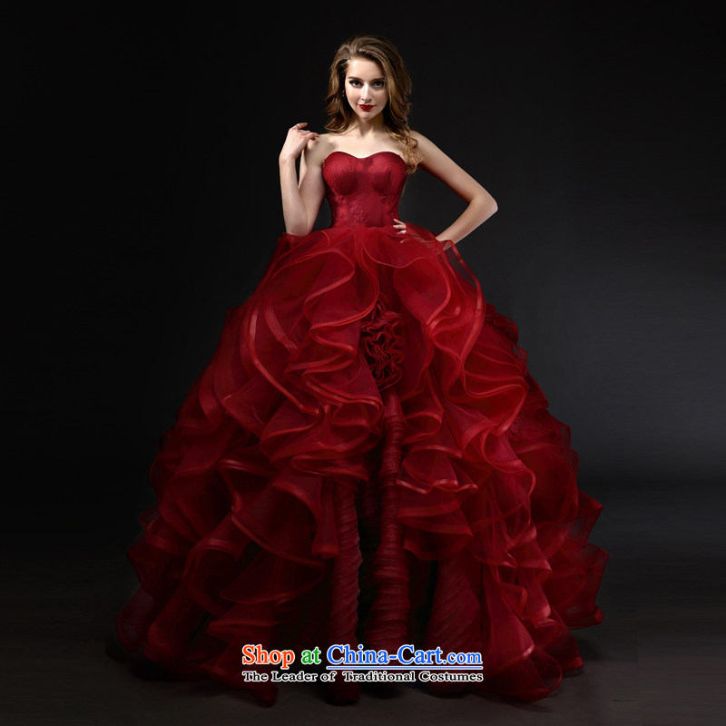 Mr model wedding upscale tailored Wang weiwei 2015 new wine red anointed chest bon bon skirt the yarn lace niba petticoats wedding tailored wine red
