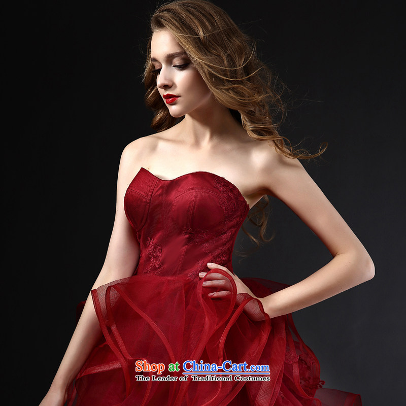 Mr model wedding upscale tailored Wang weiwei 2015 new wine red anointed chest bon bon skirt the yarn lace niba petticoats wedding wine red tailored, had model , , , shopping on the Internet