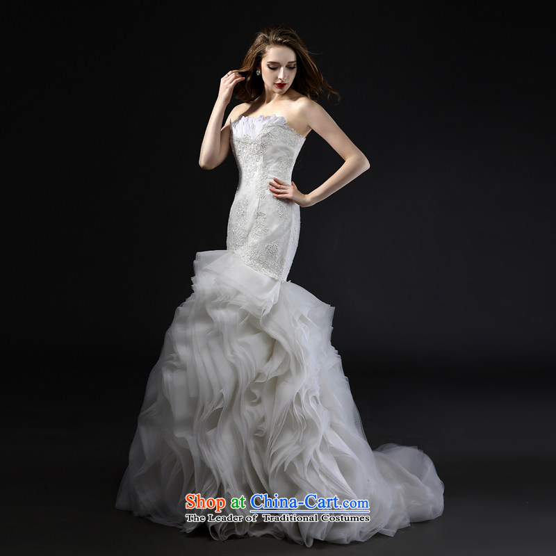 Mr model wedding upscale tailor the new 2015 summer feathers and chest straps foutune crowsfoot small trailing creases niba petticoats elegant lace tailor the?35-day delivery