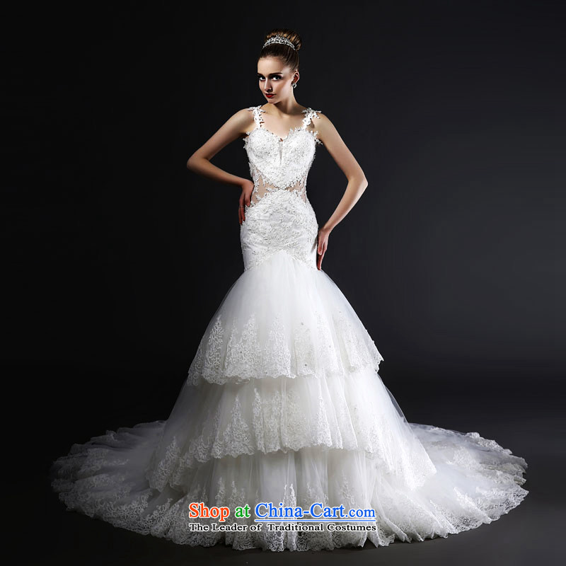 Mr Model Wedding 2015 advanced new tailored stylish strap anointed scoops back crowsfoot long tail hand embroidery lace engraving wedding tailor the 35-day delivery