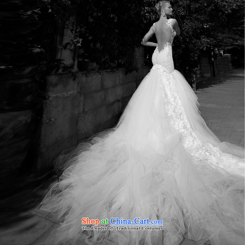 Mr model wedding advanced tailored?2015 new long tail trendy straps and sexy back large tail foutune crowsfoot lace wedding tailor the?35-day delivery