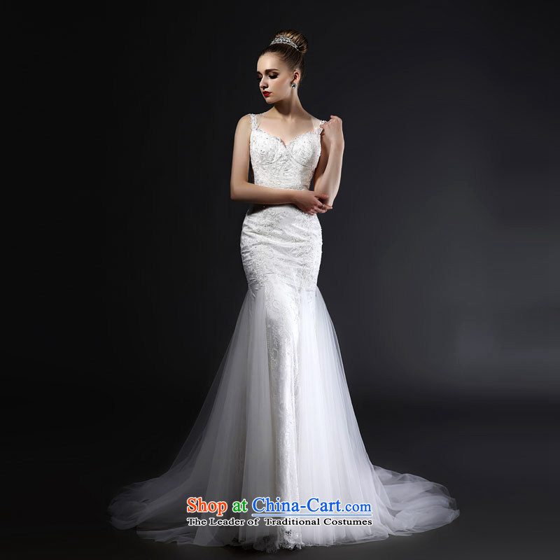 Mr model wedding quality custom 2015 new stylish straps and sexy back Pearl Crystal Foutune of Sau San video thin crowsfoot tail lace wedding M