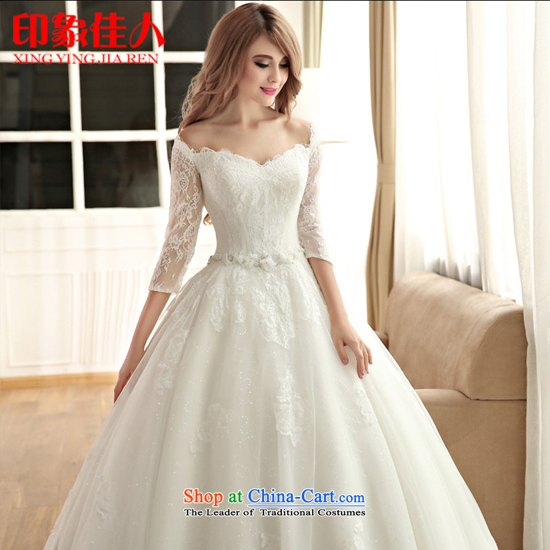 Good impression?new 2015 wedding dress a long-sleeved field shoulder for wedding dresses lace temperament bride wedding summer to align the high end of the custom?M