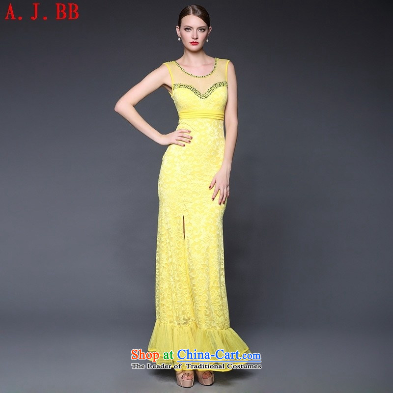 The European sites involved and clothing for?summer 2015 new crowsfoot lace great evening dress Sau San dresses W0282 yellow are code