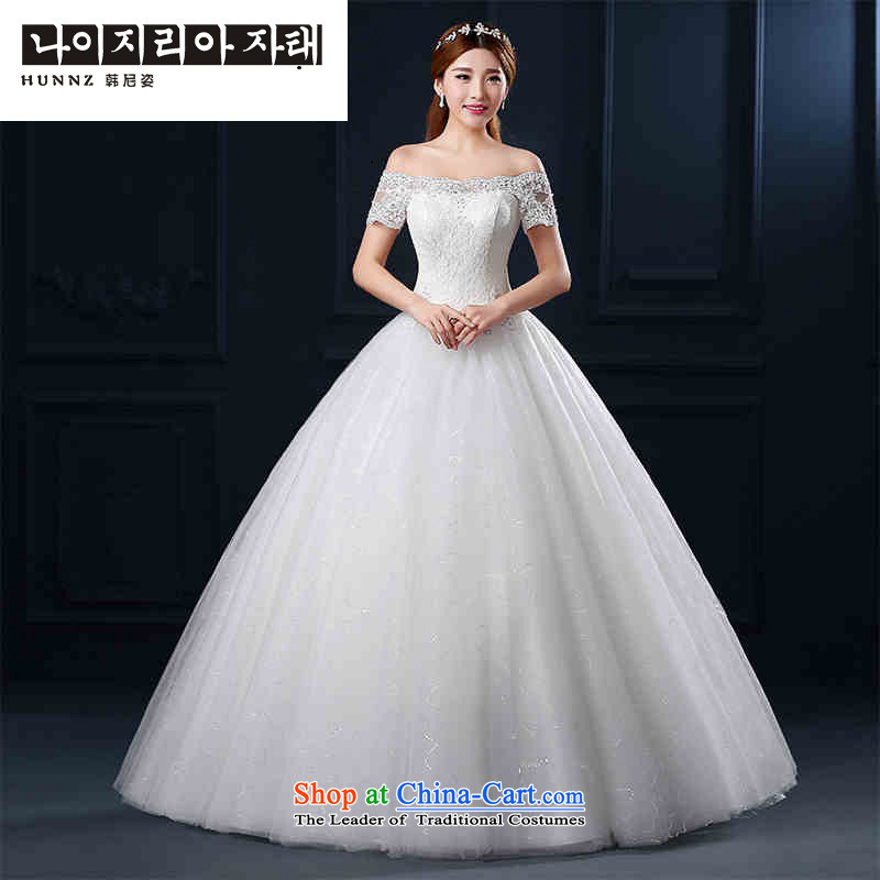 2015 Graphics thin new hannizi, large stylish spring and summer Korean word to align the shoulder lace bon bon wedding white?S