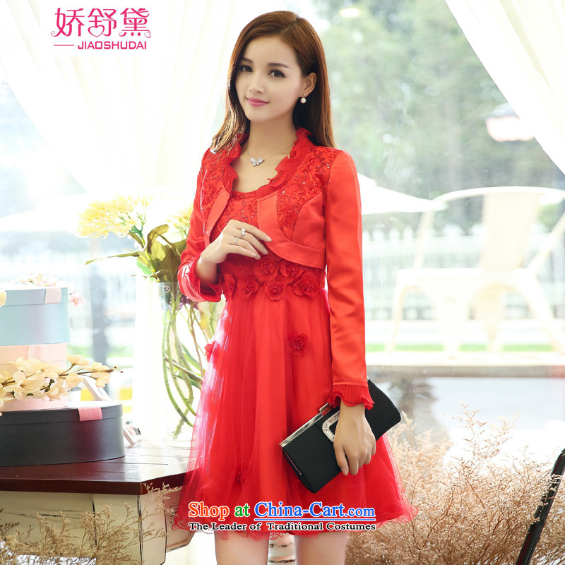 Use the?spring and summer of 2015 Doi Shu new bows dress autumn and winter bridal dresses women and two piece back door small red dress marriage two kits picture color?M