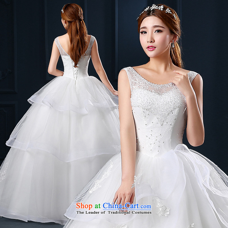 The spring and summer of 2015 New hannizi word, shoulder to align graphics stylish thin shoulders Korean version of large code bride wedding white L