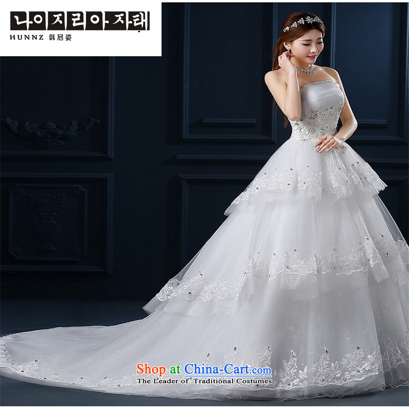 The new 2015 hannizi Korean summer small trailing lace video thin large Long Chest and Sau San bride wedding white L