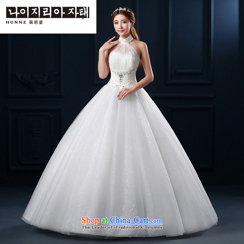 Hannizi  ?Wedding 2015 Spring/Summer new Korean lace hangs also bon bon skirt back to align graphics thin bride wedding White?XXL