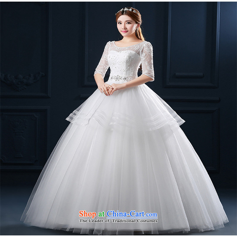 The spring and summer of 2015 New hannizi large retro in thin video code word cuff lace to align the shoulder bride wedding White?XL