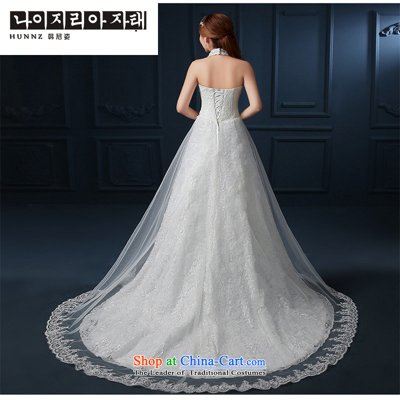 The spring and summer of 2015 New hannizi) Hang lace a field also skirt tail graphics thin bride wedding white?S