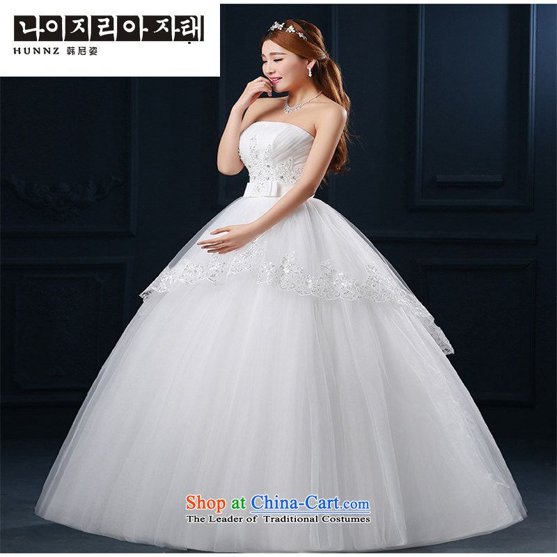 2015 Korean hannizi spring and summer new anointed chest modern large graphics thin minimalist bride wedding White XXL