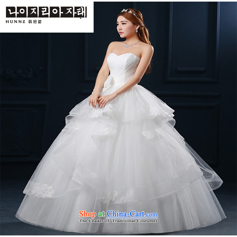 The new 2015 hannizi spring and summer Korean Modern graphics to align the large thin minimalist wiping the chest upscale bride wedding White?XL