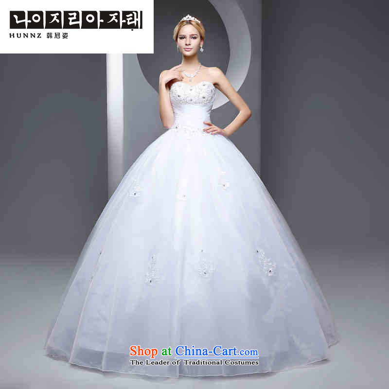 The new 2015 hannizi spring and summer Korean-style with chest code Sau San video to align the thin minimalist bride wedding white White?XL