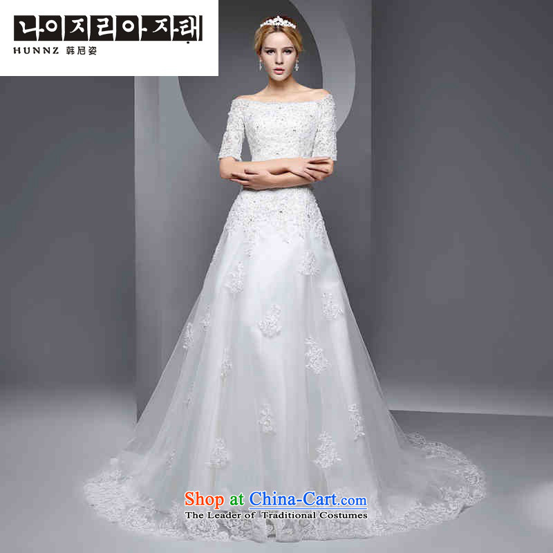 The spring and summer of 2015 New hannizi, simple and stylish large to align the Sau San slotted shoulder small trailing video thin bride wedding White?XXL