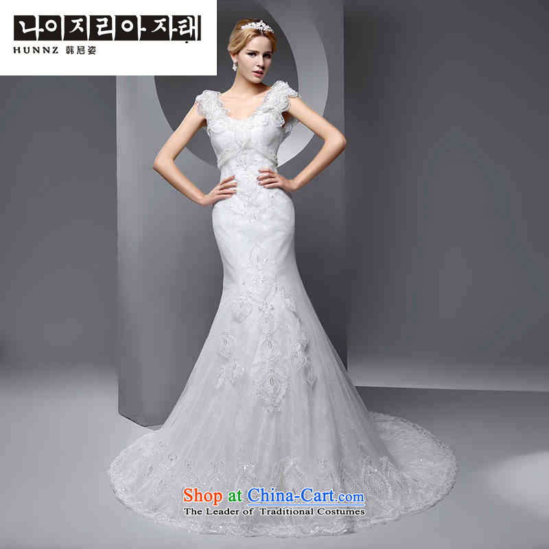 Large 2015 hannizi stylish Sau San new spring and summer Korean style graphics thin shoulders crowsfoot minimalist bride wedding white?S
