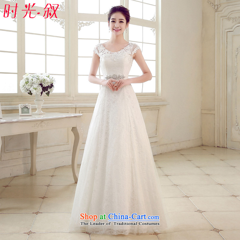 The Syrian Arab Republic and the Republic of Korea time simple to align the shoulders a field shoulder lace retro marriage video thin bride wedding?A swing wedding dress 2015 Autumn white?S