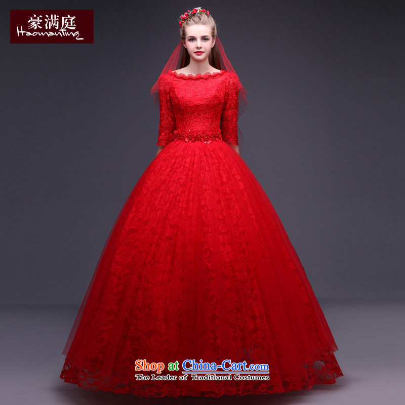 The bride red wedding dresses 2015 new winter in the word long-sleeved shoulder larger cuff lace wedding alignment to Korea with minimalist RED M
