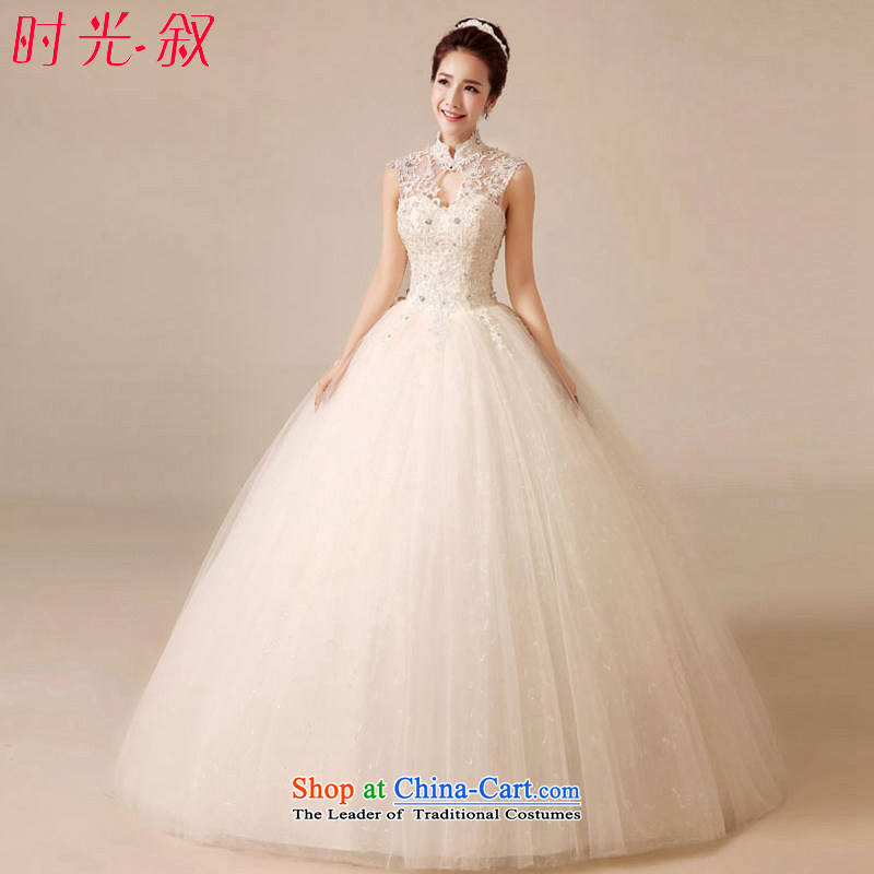 The Syrian Arab Republic and the Republic of Korea time wedding dress Bridal Fashion Korean collar package shoulder wedding dress thin straps Sau San Graphics alignment with high collar lace anointed chest wedding White?XL