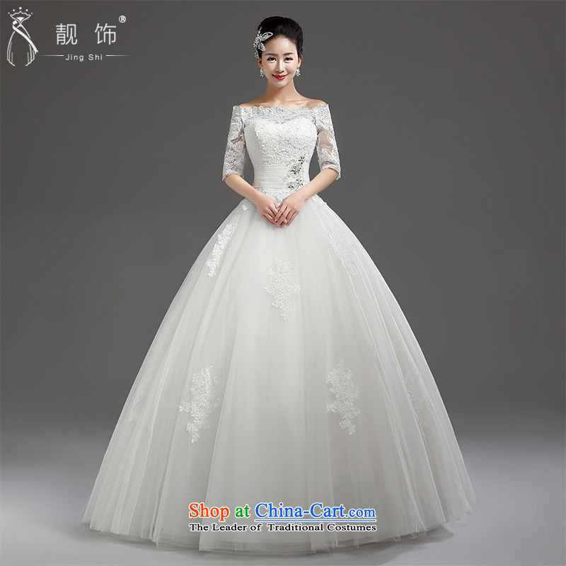 The new 2015 international friendship and the Republic of Korea in the first field to align the shoulder cuff marriages wedding video thin wedding dresses white�L