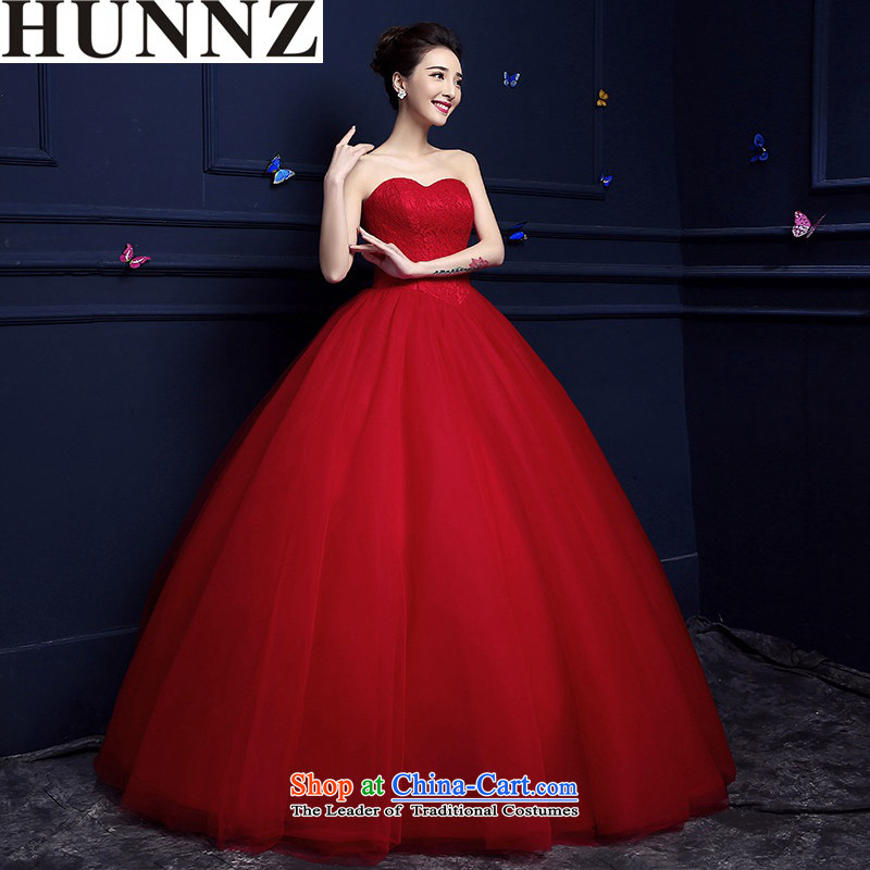 Hunnz  ?new spring and summer stylish anointed chest long alignment with minimalist with Korean Red bride wedding red?XXL