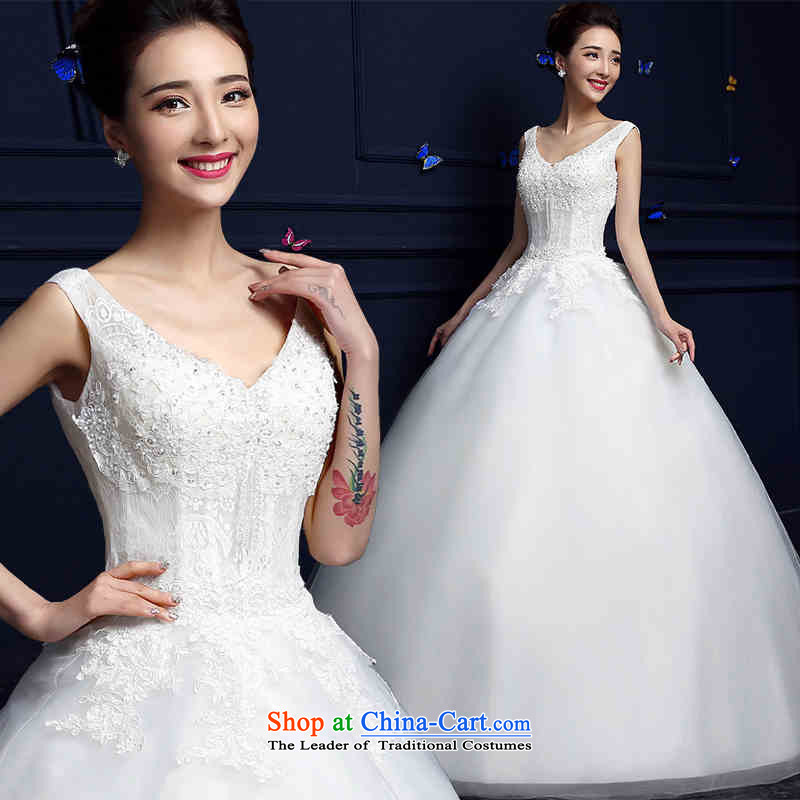 Hunnz   ?new spring and summer Korean fashion bon bon skirt lace deep V shoulders minimalist bride wedding White?M