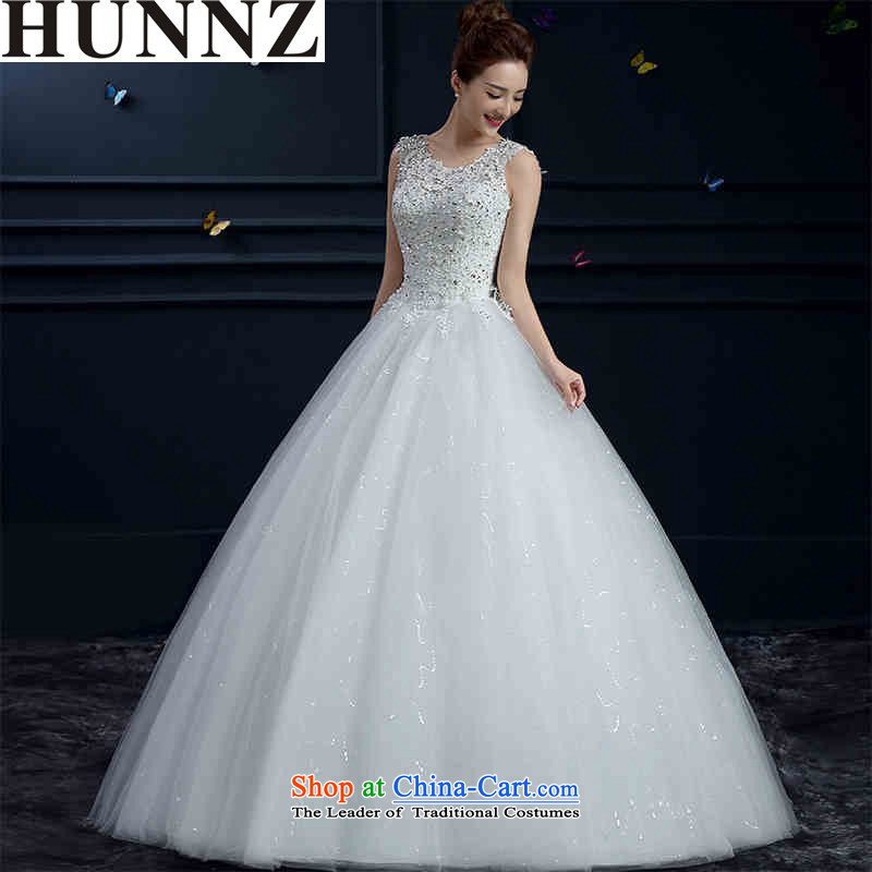 Hunnz   ?New Spring_Summer 2015 Korean word fashionable upper shoulder shoulders to align the bride Sau San Wedding White?M