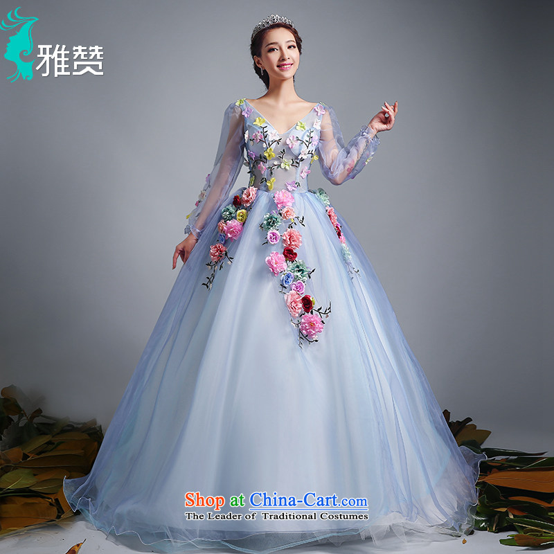 Jacob Chan Photo building theme flower Wedding Dress Photography color chiffon new 2015 summer and fall of long-sleeved tail Align to align bon bon skirt land�XL