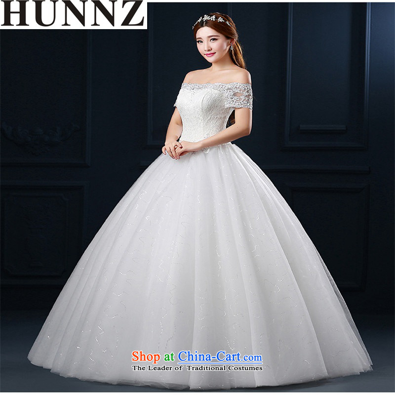 The new 2015 HUNNZ spring and summer a stylish Korean-style field shoulder bon bon skirt large graphics thin minimalist bride wedding white White XXL