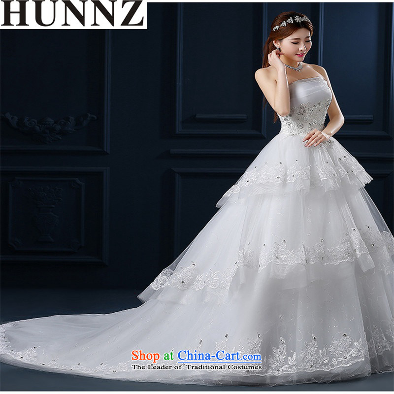 The new 2015 HUNNZ Korean stylish and simple large atmospheric graphics thin small spring and summer tail lace bride wedding White XL
