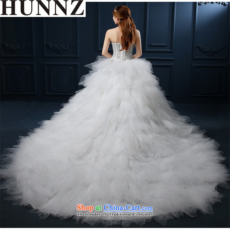 ? ?The Korean-style luxury 2015 HUNNZ stylish new spring and summer graphics thin minimalist larger anointed chest tail Sau San bride wedding White?XL