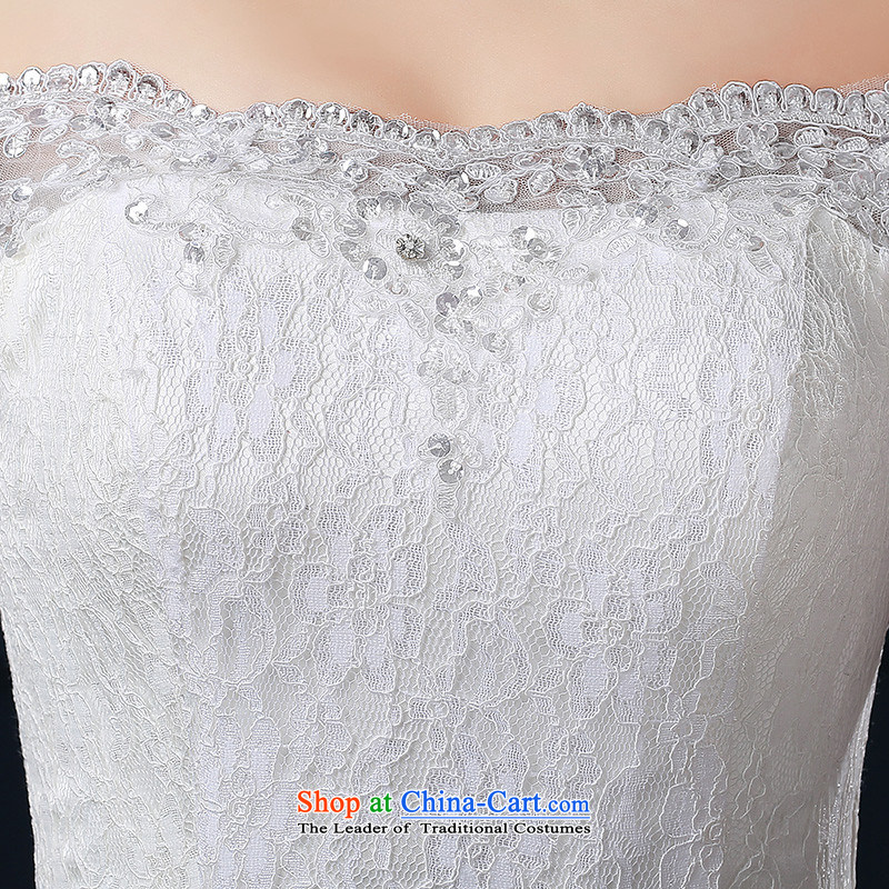聽  聽Korean-style New 2015 HUNNZ word, shoulder lace small trailing straps stylish bride wedding White聽XXL