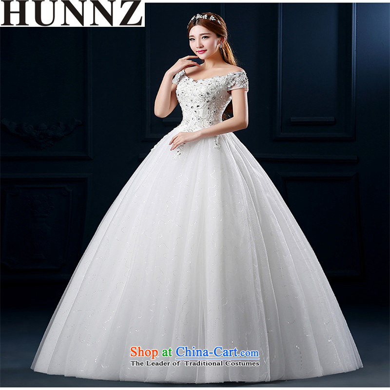 The new 2015 HUNNZ spring and summer sweet Korean stylish and simple graphics thin large diamond strap bride wedding white?L