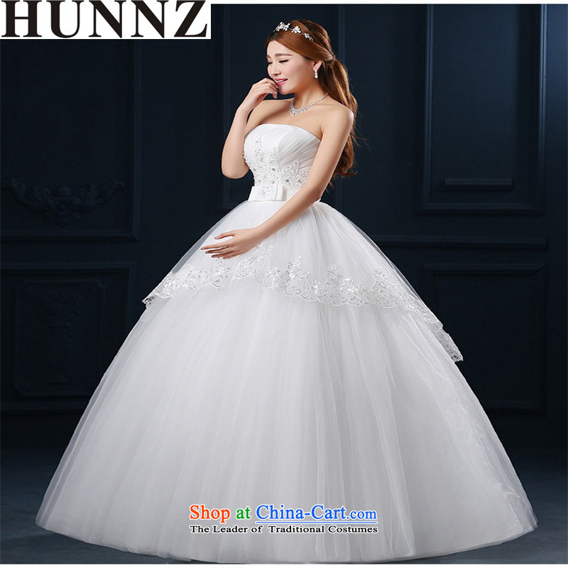 Hunnz   ?Korean Style New spring and summer and chest bon bon skirt retro straps lace bride is simple and stylish wedding white?L
