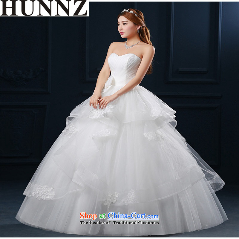 Hunnz  聽bon bon skirt Korean Style New stylish 2015 Spring_Summer anointed chest retro lace bride wedding White聽XL