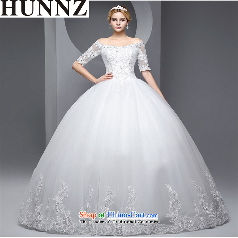 Hunnz    ?bride Wedding 2015 new products in the spring and summer cuff straps stylish Sau San water-soluble lace wedding White?M