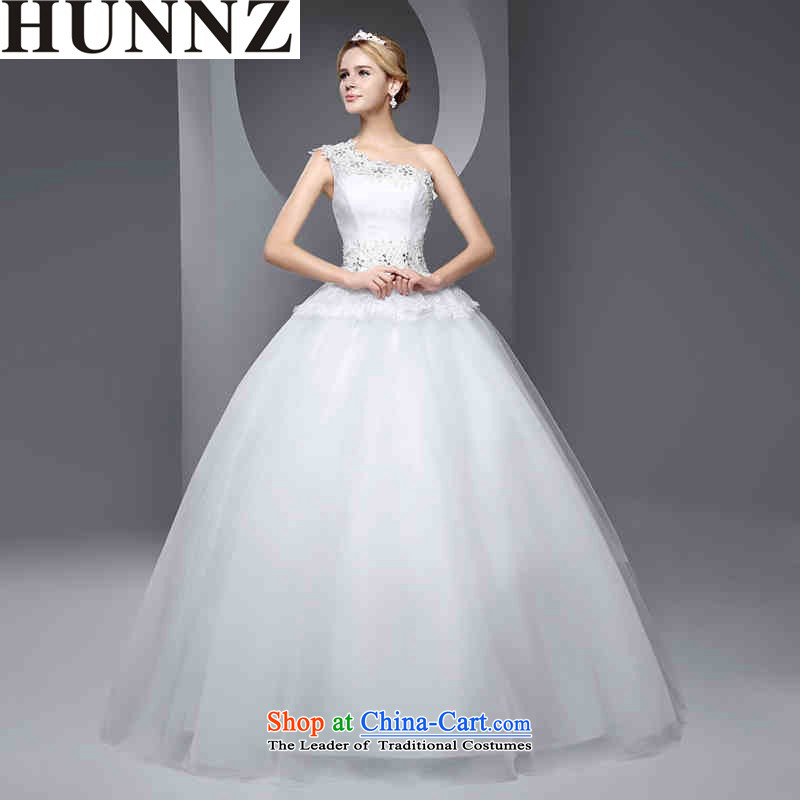 Stylish bride 2015 HUNNZ spring and summer new shoulder straps bon bon skirt to align the bride wedding white L