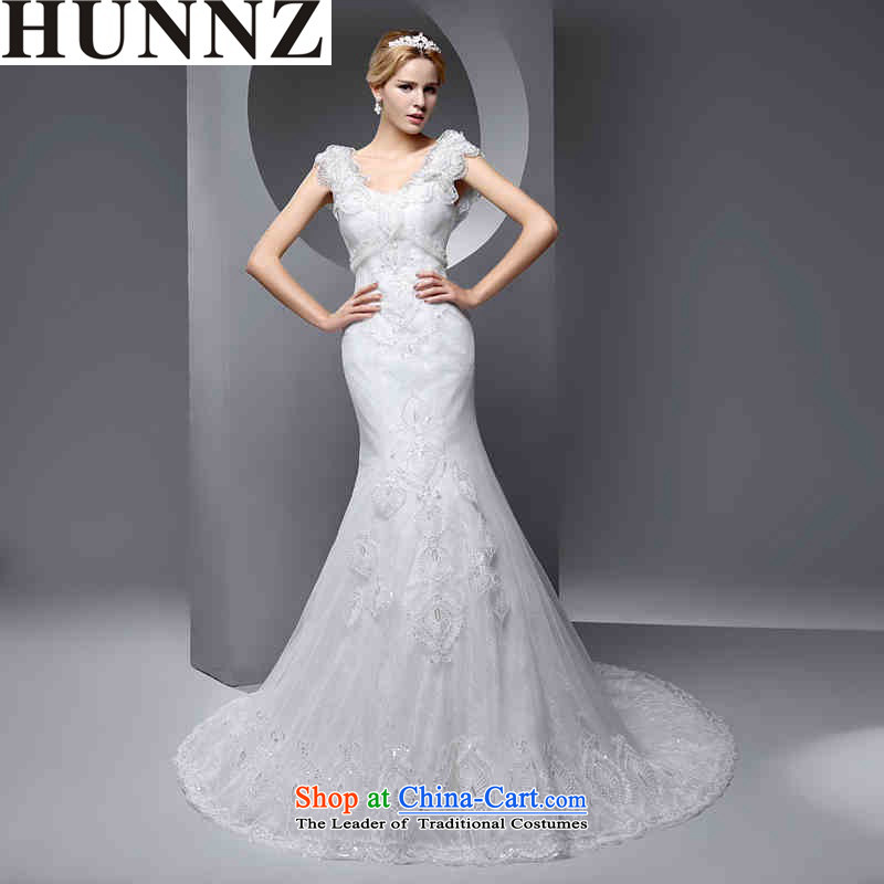 Hunnz    ?simple and stylish large Sau San 2015 new spring and summer strap video thin atmospheric bride wedding White?XXL