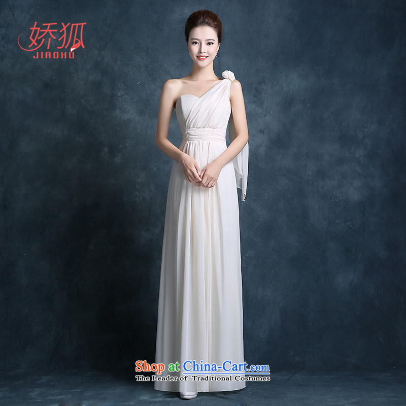 To Fox of autumn and winter bridesmaid dress 2015 new stylish Korean bridesmaid mission champagne color evening dresses bridesmaid serving long female champagne color聽L