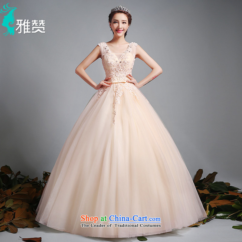 To align the Jacob Chan wedding dresses fluoroscopy shoulders V-Neck 2015 new summer and fall of champagne color Bow Tie Princess bon bon skirt champagne color?XXL