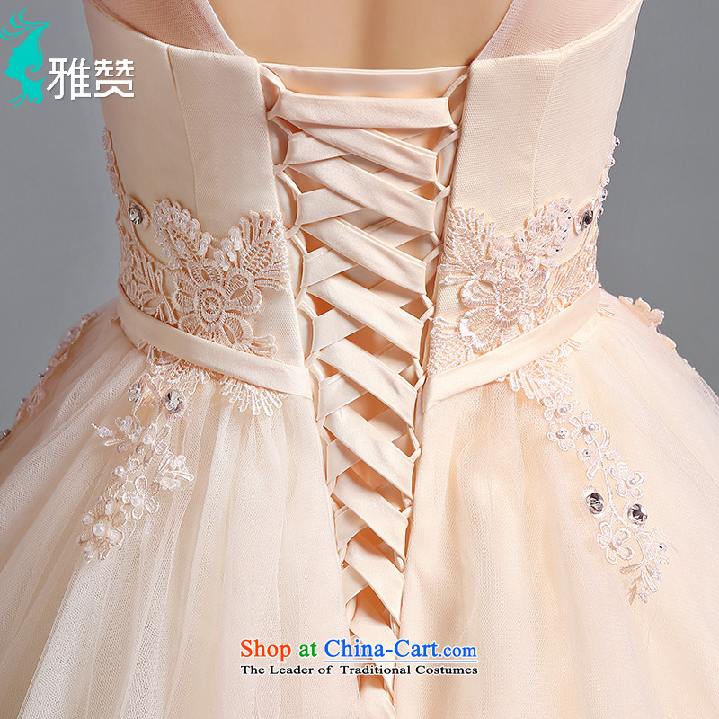 To align the Jacob Chan wedding dresses fluoroscopy shoulders V-Neck 2015 new summer and fall of champagne color Bow Tie Princess bon bon skirt champagne color XXL, Jacob Chan (YAZAN) , , , shopping on the Internet