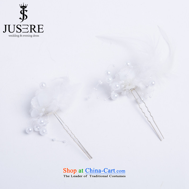 There is a double-woo new Korean bridal lace feather pearl retro hair ornaments and accessories photo building photography styling jewelry accessories White